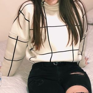 Tops - Oversized Striped Turtle Neck Sweater